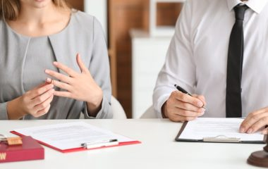 Couple visiting divorce lawer